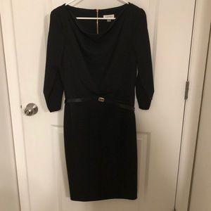 CALVIN KLEIN cow neck black dress